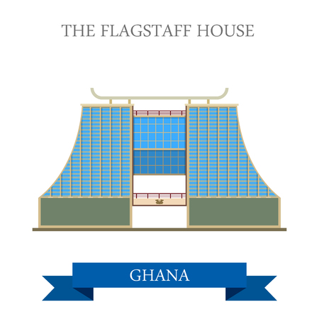 presidency: The Flagstaff House in Ghana. Flat cartoon style historic sight showplace attraction web site vector illustration. World countries cities vacation travel sightseeing Africa collection. Illustration