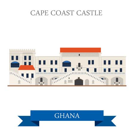 Cape Coast Castle in Ghana. Flat cartoon stijl historische aanblik showplace attractie website vector illustratie. Wereld landen steden vakantie reizen sightseeing Afrika collectie. Stock Illustratie