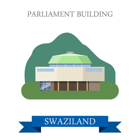 sightseeings: Parliament Building in Lobamba in Swaziland. Flat cartoon style historic sight showplace attraction web site vector illustration. World countries cities vacation travel sightseeing Africa collection. Illustration