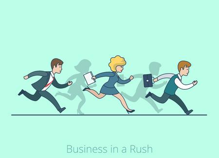 llegar tarde: línea arte lineal estilo plano de negocios en un concepto de pico uno en dibujos animados. El hombre de negocios de negocios de ejecución competición corriente sea ilustración vectorial tarde. Lineas de personas colección. Vectores
