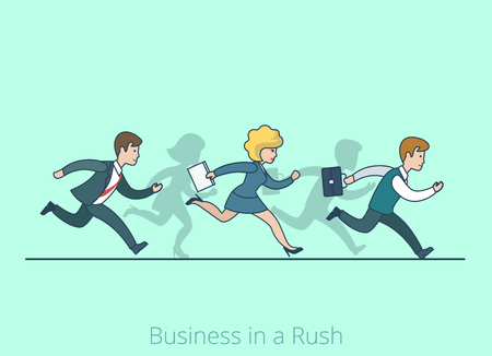 people shadow: Linear line art flat style Business in a Rush Hurry cartoon concept. Businessman businesswoman run running competition be late vector illustration. Lineart people collection.