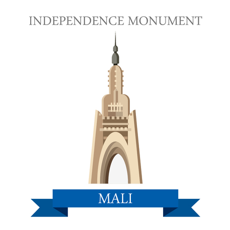 points of interest: Bamako Independence Monument in Mali. Flat cartoon style historic sight showplace attraction web site vector illustration. World countries cities vacation travel sightseeing Africa collection. Illustration