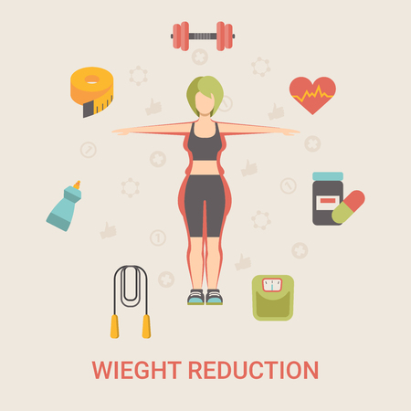healthy people: Healthy life concept vector illustration set. People sports health farm fresh food web site banner image. Woman weight reduction Infographics on color background.