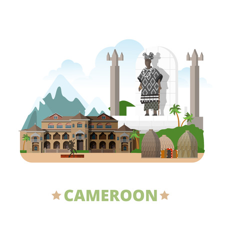 vacation: Cameroon country design template. Flat cartoon style historic sight web vector illustration. World vacation travel Africa African collection. Palace Sultan Bamun Musgum Mud Huts Statue Chief Banca.