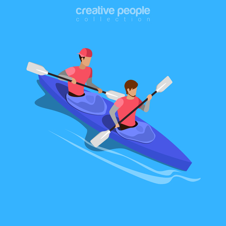 rafter: Isometric kayakers rafting sports concept. Flat 3d isometry web site conceptual vector illustration. Creative people collection.