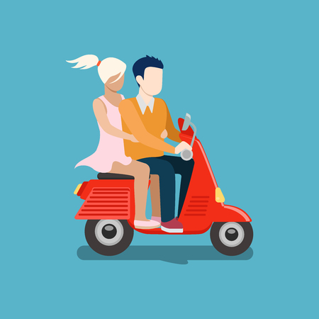 stolen: People riding moped vector creative flat design illustration. Young man in suit tie and woman in dress drive red scooter side view on blue background. Stolen girl.