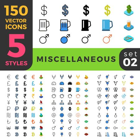 icon collection: 150 miscellaneous misc gay lesbian LGBT ui icon set. Linear outline flat isometric 5 styles icons. Vector mobile app application software interface web site element sign symbol 3d object collection.