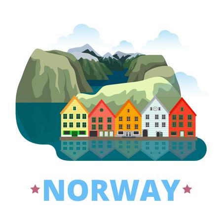 Norway country magnet design template. Flat cartoon style historic sight showplace web site vector illustration. World vacation travel sightseeing Europe European collection. Preikestolen Bryggen. Illustration