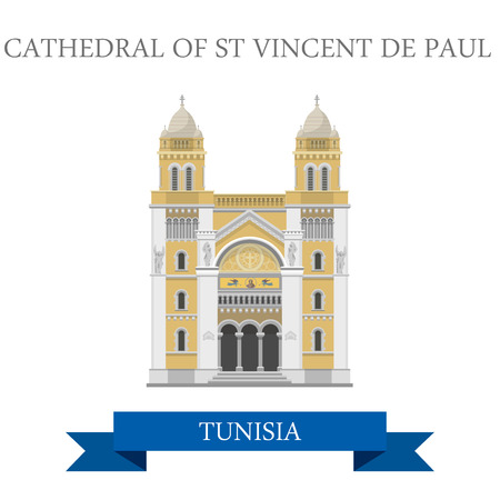 country church: Cathedral of St Vincent de Paul in Tunisia. Flat cartoon style historic sight showplace attraction web site vector illustration. World countries cities vacation travel sightseeing Africa collection.