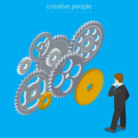 business mind: People brain gear vector concept. Man mind wheel thinking creative design illustration. Person think idea gears mechanism work business conception on blue background. Illustration