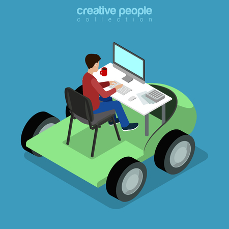 moving site: Isometric Mobile Office work business concept. Flat 3d isometry web site conceptual vector illustration. Creative people collection. Businessman working front view table car monitor chair freelancer. Illustration