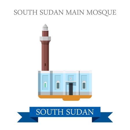 points of interest: South Sudan Main Mosque. Flat cartoon style historic sight showplace attraction web site vector illustration. World countries cities vacation travel sightseeing Africa collection. Illustration