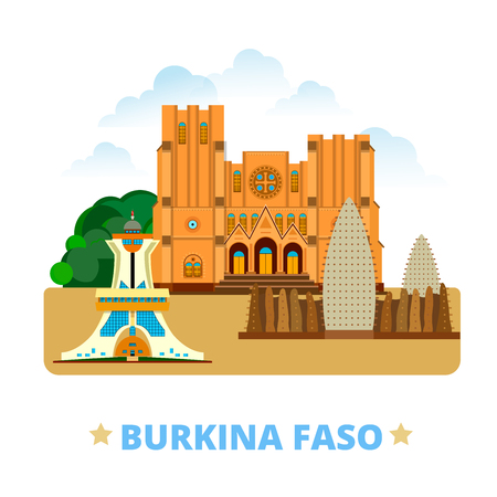 eligion: Burkina Faso country flat cartoon style historic sight web vector illustration. World vacation travel Africa African collection. Ouagadougou Cathedral Grand Mosque Bobo Dioulasso Monument to Martyrs. Illustration