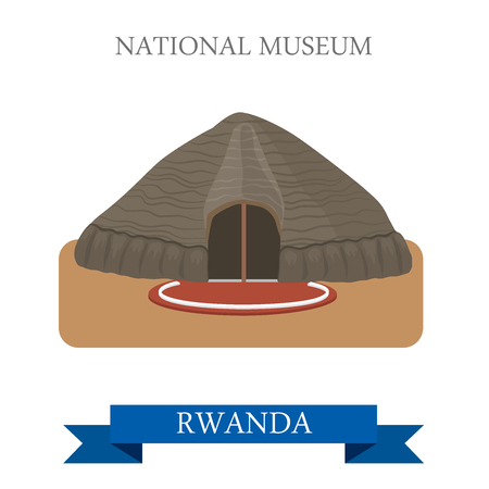 points of interest: National Museums of Rwanda in Butare. Flat cartoon style historic sight showplace attraction web site vector illustration. World countries cities vacation travel sightseeing Africa collection. Illustration