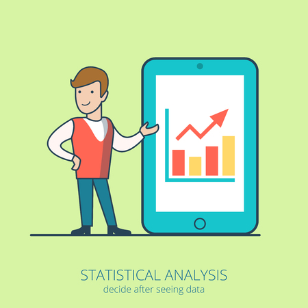 young business man: Linear line art business people statistical analysis concept flat icon. Young man big tablet data graphic. Infographics design web site elements vector illustration.