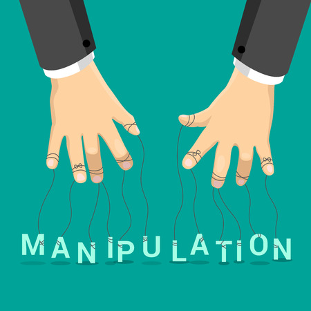 manipulate: Manipulation marionette concept vector illustration. Businessman hands with rope on fingers manipulate letters on emerald background. Puppet letter show. Illustration
