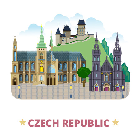 Czech Republic design template. Flat cartoon style historic sight web vector illustration. World vacation travel sightseeing Europe collection. Karlstejn Castle St Vitus Cathedral of St Peter and Paul 向量圖像