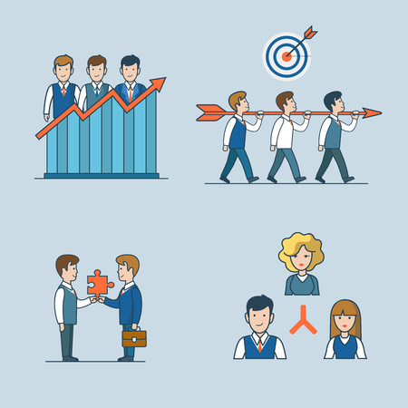 Linear flat line art style business people concept icon set. Team efficiency report teamwork target partnership organization company structure. Conceptual businesspeople vector illustration collection