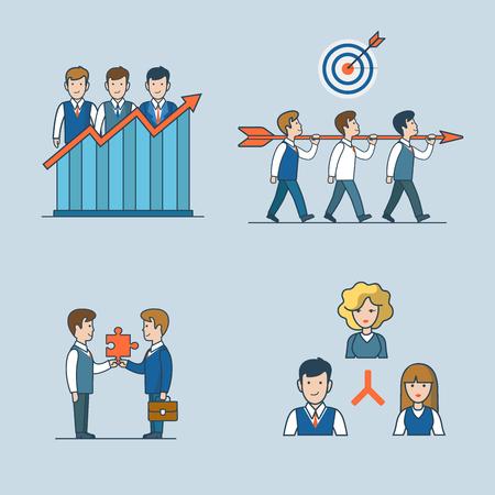선형 평평한 라인 아트 스타일 비즈니스 사람들이 개념 아이콘을 설정합니다. 팀 효율성 보고서 팀웍 대상 파트너 관계 조직 회사 구조. 개념적 기업인