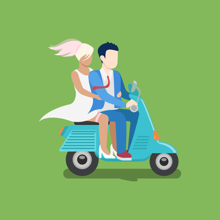moped: People riding moped vector creative flat design illustration. Man in suit tie and woman in dress drive scooter side view on green background. Stolen bride. Illustration