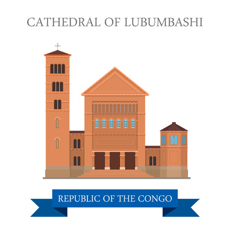 sightseeings: Cathedral of Lubumbashi in Republic of the Congo. Flat cartoon style historic sight showplace attraction web site vector illustration. World countries cities vacation travel sightseeing collection.