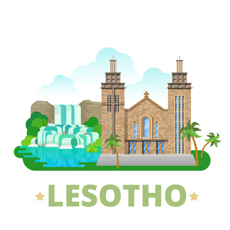 waterfall in the city: Lesotho country design template. Flat cartoon style historic sight showplace web site vector illustration. World travel sightseeing Africa African collection. Our Lady of Victory Cathedral in Maseru.