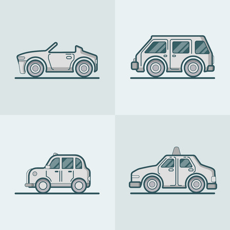 lineart: Convertible cabriolet cabrio sportscar van car taxi cab lineart line art road transport set. Linear stroke outline flat style vector icons. Monochrome color icon collection.