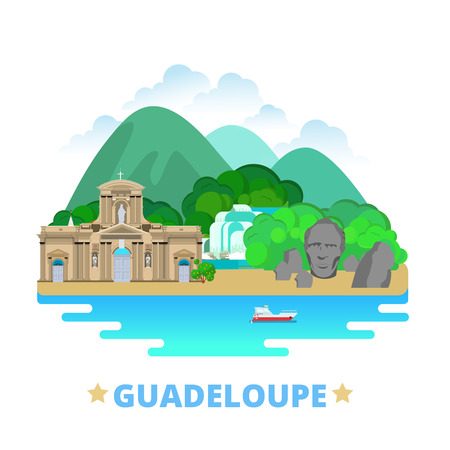 north america: Guadeloupe country badge fridge magnet design template. Flat cartoon style historic sight showplace web site vector illustration. World vacation travel sightseeing North America collection. Fort Delgres Basse-Terre Cathedral.