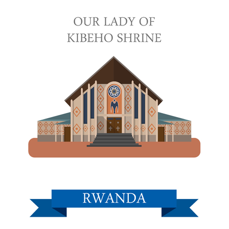 our lady of sorrows: Our Lady of Kibeho Shrine in Rwanda. Flat cartoon style historic sight showplace attraction web site vector illustration. World countries cities vacation travel sightseeing Africa collection. Illustration
