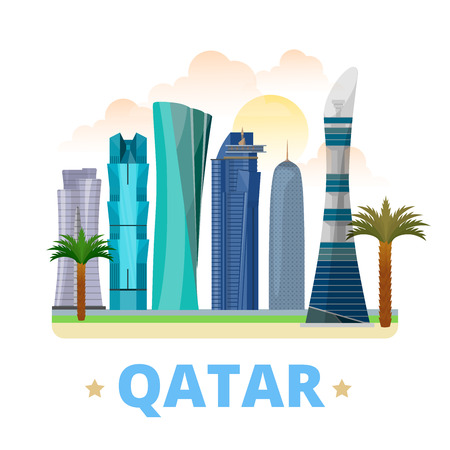 vacation: Qatar country magnet whimsical design template. Flat cartoon style historic sight showplace web site vector illustration. World vacation travel sightseeing Asia Asian collection. Aspire Tower Doha.