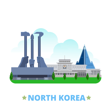 historic place: North Korea country flat cartoon style historic place web site vector illustration. World vacation travel sightseeing Asia collection. Kumsusan Memorial Palace Monument Party Founding Ryugyong Hotel.