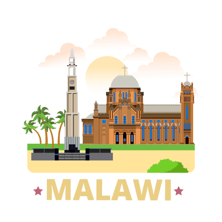 country church: Malawi country flat cartoon style historic sight showplace web site vector illustration. World vacation travel Africa collection. St Michael and All Angels Church Kings African Rifles War Memorial.