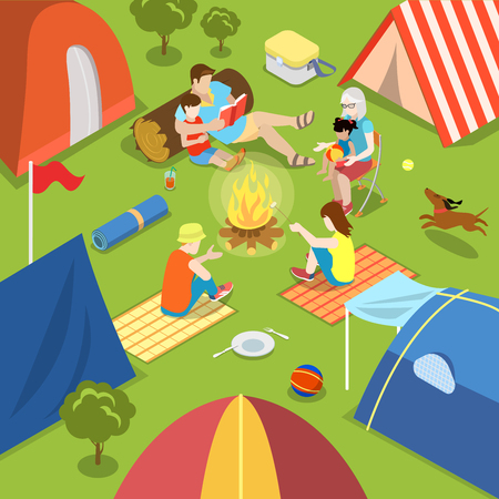 fire place: Isometric outdoor camping bonfire picnic family lifestyle time spending concept. Flat 3d isometry parents children tent fire place dog daughter son father mother. Creative people collection. Illustration