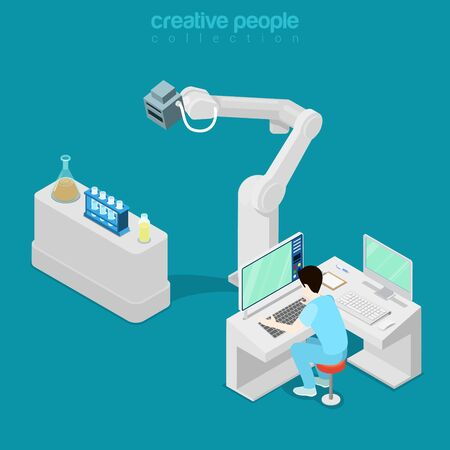 computer operator: Isometric medical hospital computer electronic modern laboratory lab equipment man assistant doctor operator. Flat 3d isometry style web site vector illustration. Creative people collection.