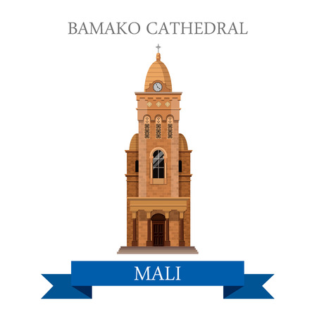 bamako: Bamako Cathedral in Mali. Flat cartoon style historic sight showplace attraction web site vector illustration. World countries cities vacation travel sightseeing Africa collection.