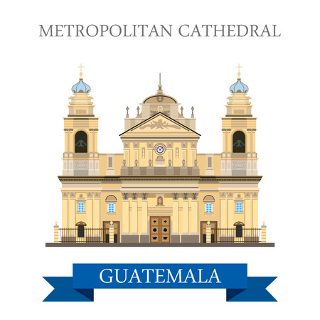 Metropolitan Cathedral of Saint James in Guatemala. Flat cartoon style historic sight showplace attraction web site vector illustration. World countries vacation travel sightseeing America collection.