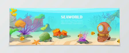natural color: Sea world underwater life nature natural beauty template. Time to travel vacation agency web site flyer brochure vector illustration. Fish antic wetsuit under water seaweed color crown background.