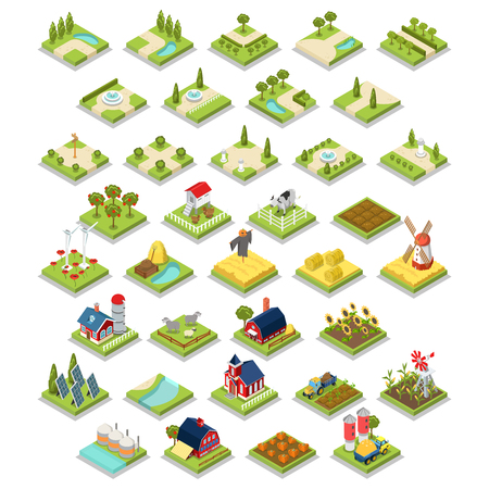 Flat 3d isometric isometry vector set countryside infographics farm building object tool equipment. Country side barn warehouse storage shop tractor windmill cow garden field grow harvest stack hay. 일러스트
