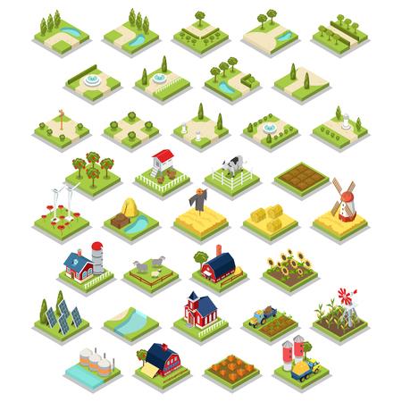 Flat 3d isometrisch vector set infographics platteland boerderij gereedschap object apparatuur. Platteland schuur opslag in het magazijn winkel tractor windmolen koe veld tuin groeien oogst stapel hooi.