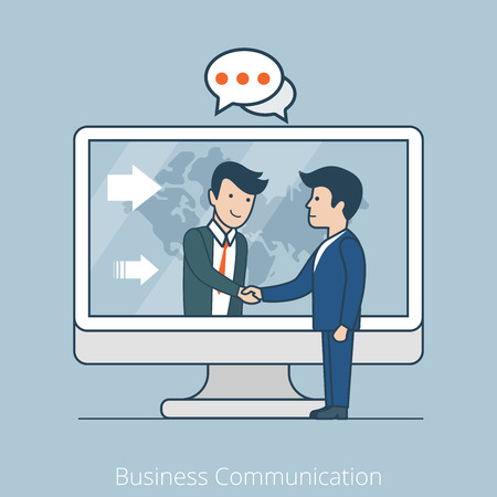 skype: Teamwork Business Communication. Linear flat line art style business people concept. Conceptual businesspeople team work vector illustration collection. Men handshake chat through huge screen map. Illustration