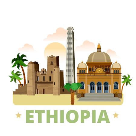 Ethiopië land plat cartoon stijl historisch zicht showplace website vector illustratie. Wereld vakantie reizen Afrika collectie. Menelik II Mausoleum in Addis Abeba Fasil Ghebbi Obelisk van Axum.
