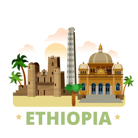 historieta plana estilo rural Etiopía vista escaparate histórico ilustración vector sitio web. vacaciones viajes mundiales colección África. Mausoleo II Menelik en Addis Abeba Fasil Ghebbi obelisco de Axum.