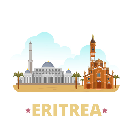 Eritrea country flat cartoon style historic sight showplace web site vector illustration. World vacation travel sightseeing Africa collection. Saint Josephs Cathedral Massawas Sheikh Hanafi Mosque.