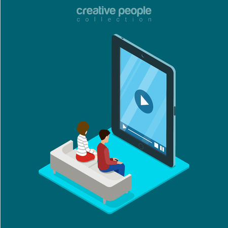 freeze: Isometric man and woman sitting freeze zombie watching video on huge smartphone phone tablet advertising concept. Flat 3d isometry web site conceptual vector illustration. Creative people collection.