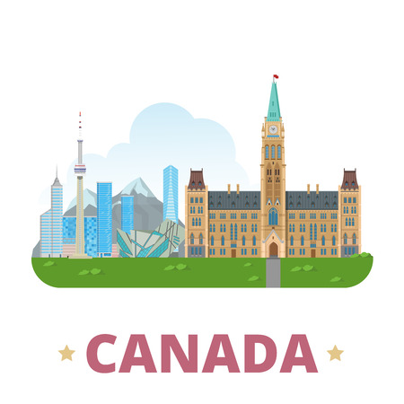 Canada country design template. Flat cartoon style historic sight web vector illustration. World vacation travel sightseeing North America collection. Parliament Hill Royal Ontario Museum CN Tower.
