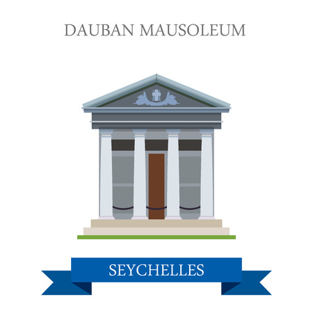 mausoleum: Dauban Mausoleum in Seychelles. Flat cartoon style historic sight showplace attraction web site vector illustration. World countries cities vacation travel sightseeing Africa Island nations collection