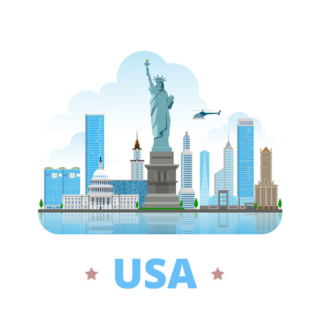 heritage site: USA United States country design template. Flat cartoon style historic sight showplace web site vector illustration. World vacation travel North America collection. Statue of Liberty Capitol Congress.