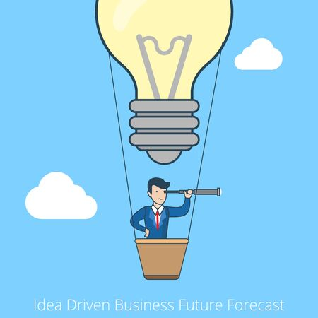 vision future: Linear flat line art style idea driven business future forecast concept. Business vision. Businessman flying balloon lamp. Conceptual businesspeople vector illustration collection.