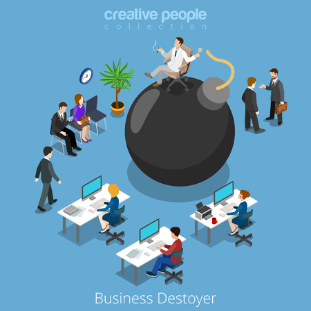 plankton: Isometric business destroyer destroy businessman flat 3d isometry vector illustration concept. Office people plankton boss on bomb manager negotiation waiting meeting. Creative people collection. Vectores