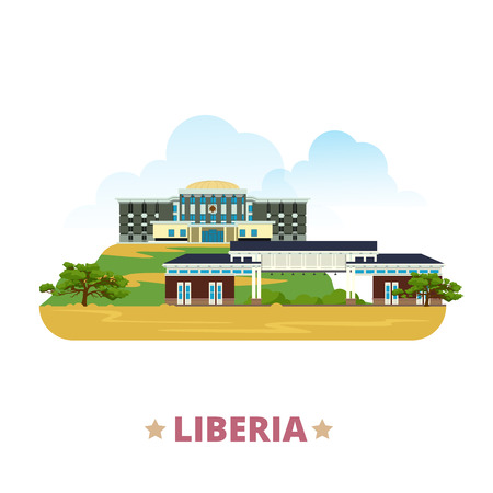 Liberia country flat cartoon style historic sight showplace web site vector illustration. World vacation travel Africa African collection. University of Liberia in Monrovia Capitol Building Monrovia. Vettoriali